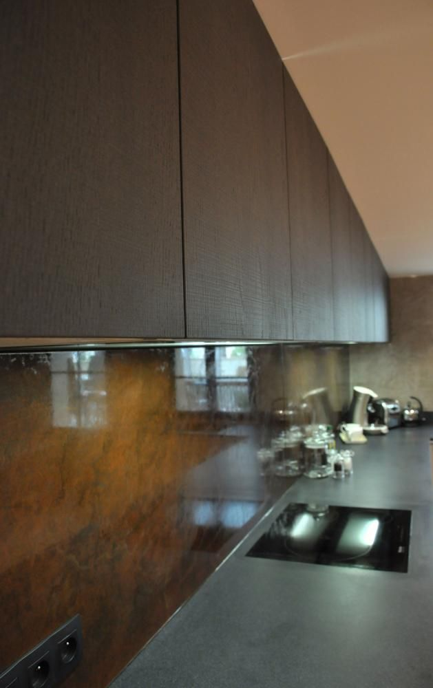 cr dence cuisine acier rouill revetement mural metal vernis plyurethane cr ation original. Black Bedroom Furniture Sets. Home Design Ideas