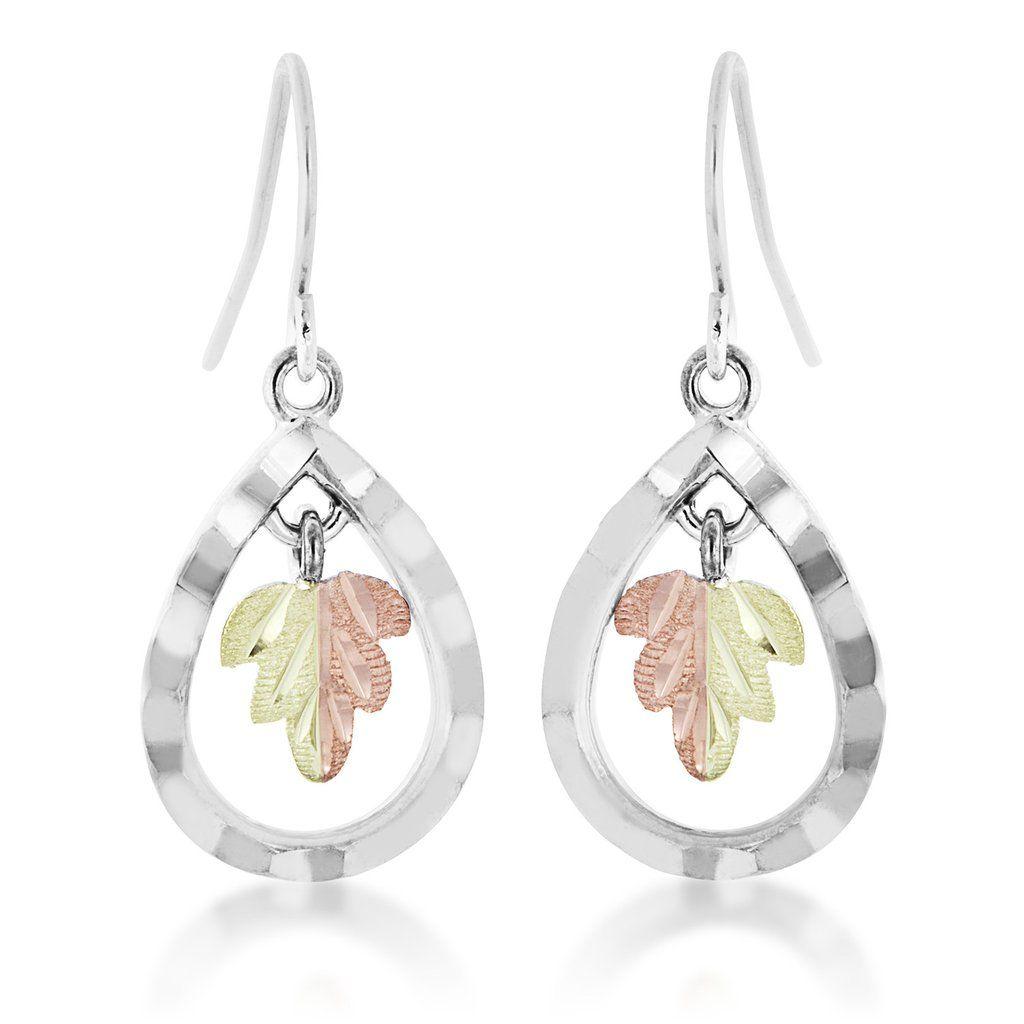 Sterling & Black Hills Gold Sparkling Leaf Earrings