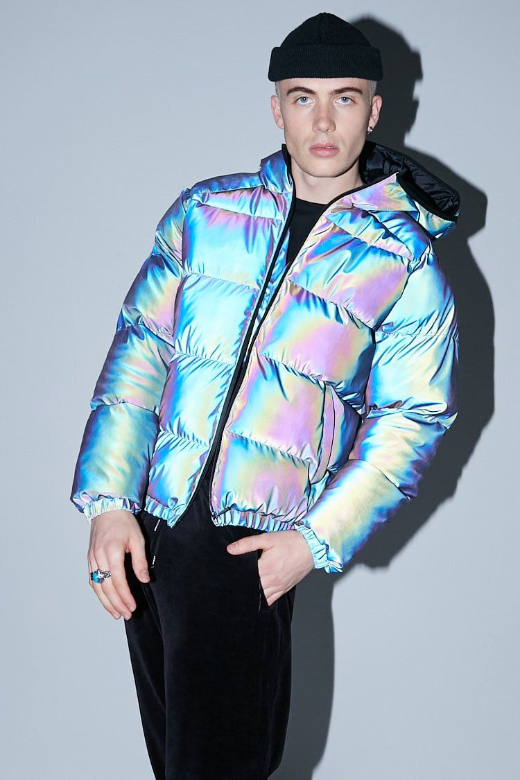 941d1dffa8e8a Reflective Hooded Jacket Puffer Jackets, Winter Jackets, Iridescent, Hooded  Jacket, Forever21,