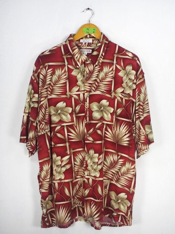 c2d92fb38 PIERRE CARDIN Rayon Shirt Men XLarge Vintage Abstract Floral 1980's Party  Rockabilly Aloha Burgundy