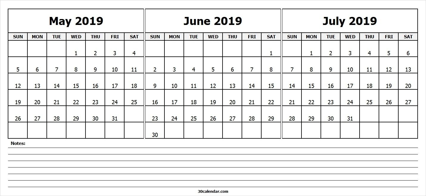 MayJuneJulyCalendar2019 30 Day Calendar Dowload