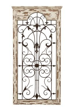 Wood Metal Wall Decor Distressed White Brown Gate Wall Decor Outdoor Wall Decor Tuscan Decorating