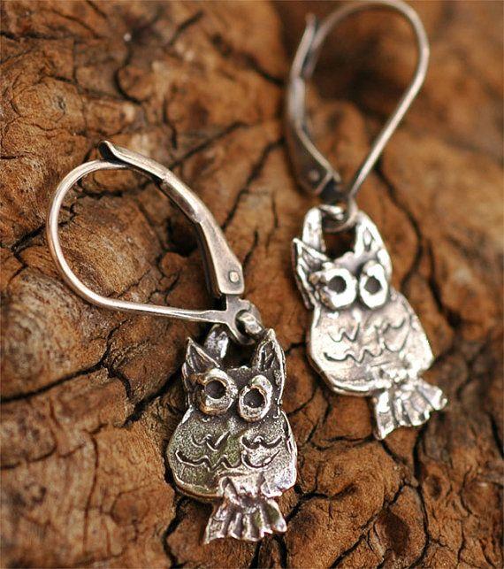 Artisan Little Owl Earrings in Sterling Silver on Lever Back Earwires
