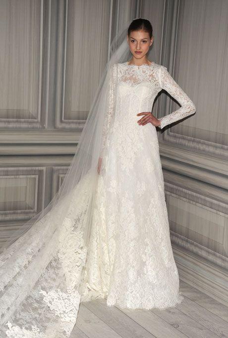 Monique lhuillier long sleeve lace wedding dress