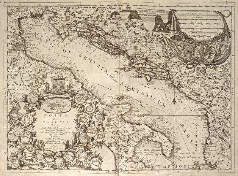 Adriatic Map. Golfo de Venezia, 1688. Gulf of Venice, 1688 from the Atlante Veneto published by Coronelli. Vincenzo Corone...