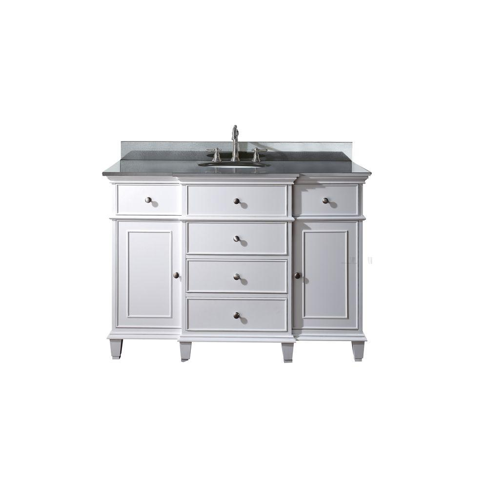 Avanity Windsor 49 In W X 22 In D X 35 In H Vanity In White With Granite Vanity Top In Black And White Basin Windsor Vs48 Wt A Granite Vanity Tops Marble Vanity Tops