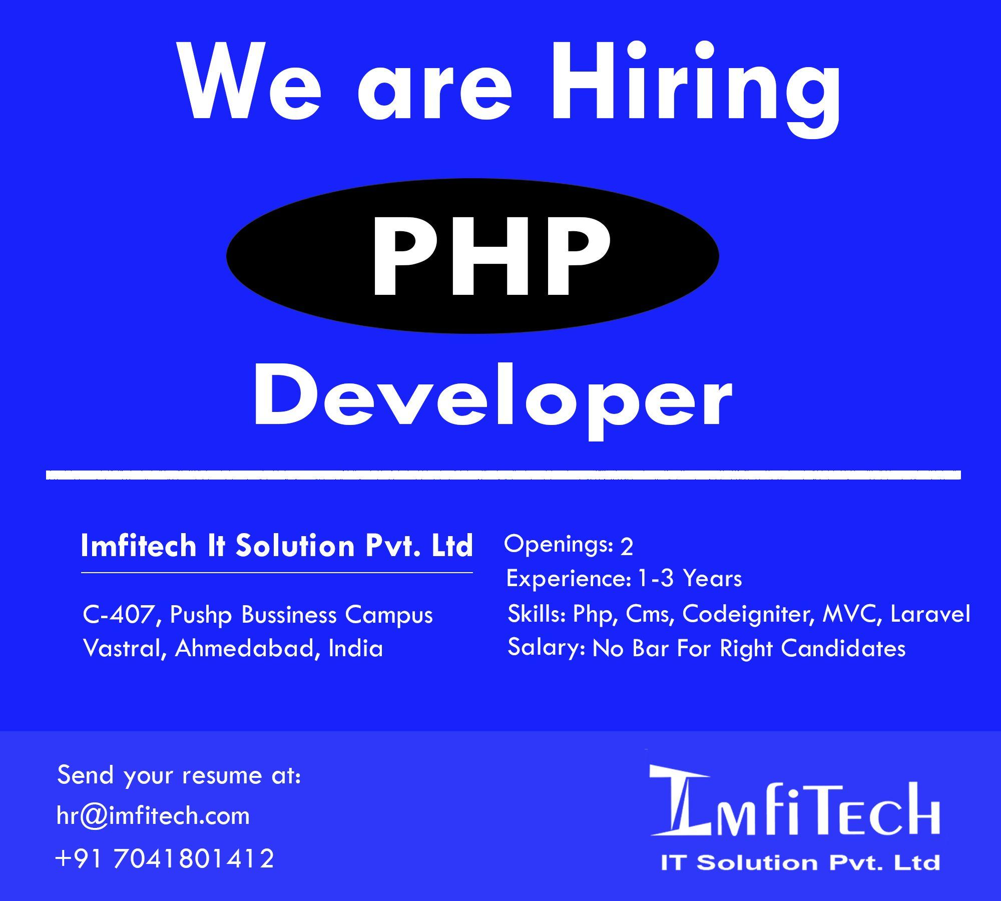 Hire PHP Developer Urgent Basis Imfitech IT Solution Pvt