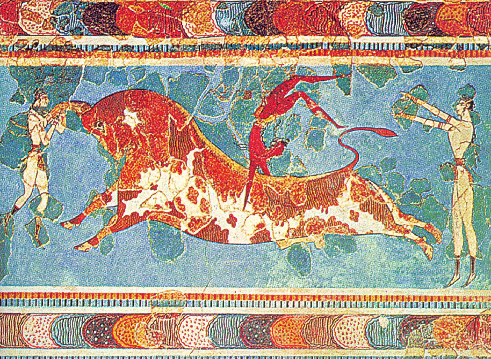 The bull dancers of knosses cool pinterest minoan for Dolphin mural knossos