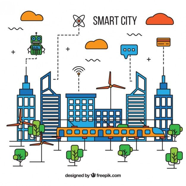 Download Smart City Background Of Linear Style For Free City Background Smart City Vector Free