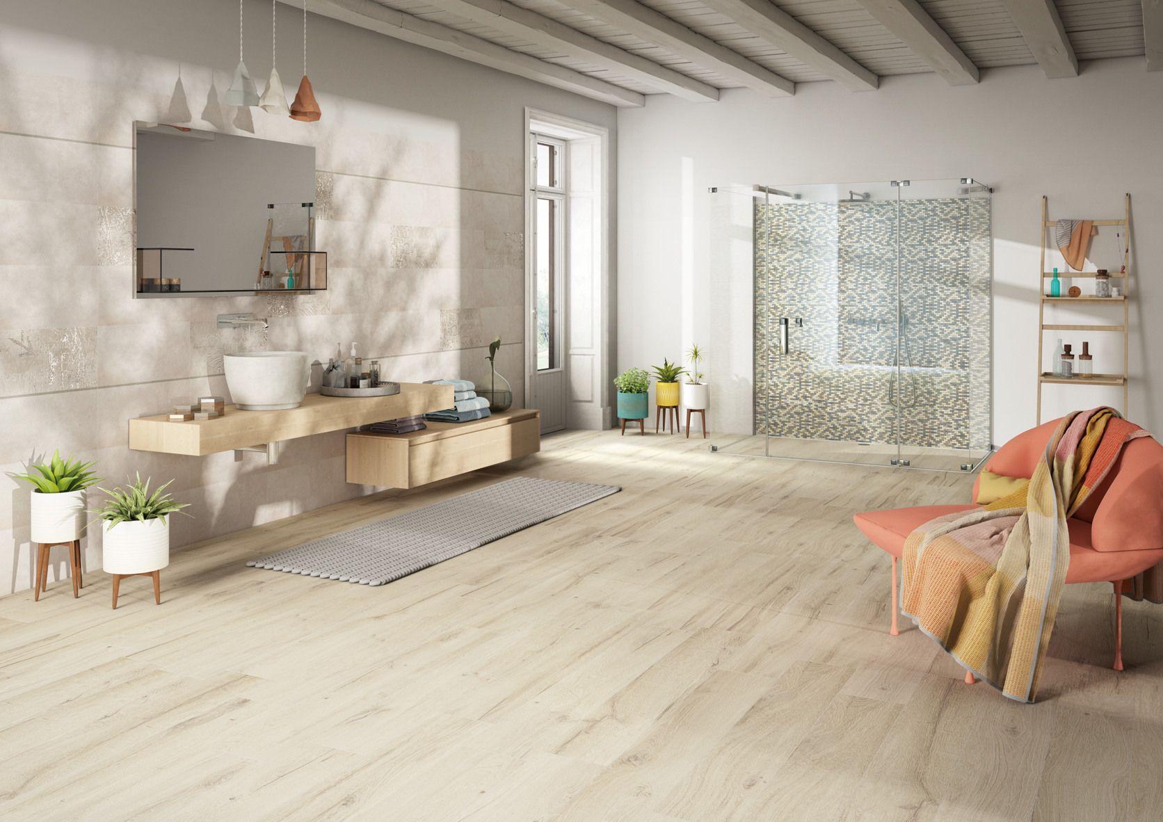 Bagno minimal ~ Bagno nordico con tocchi cromatici e un pavimento in gres effetto