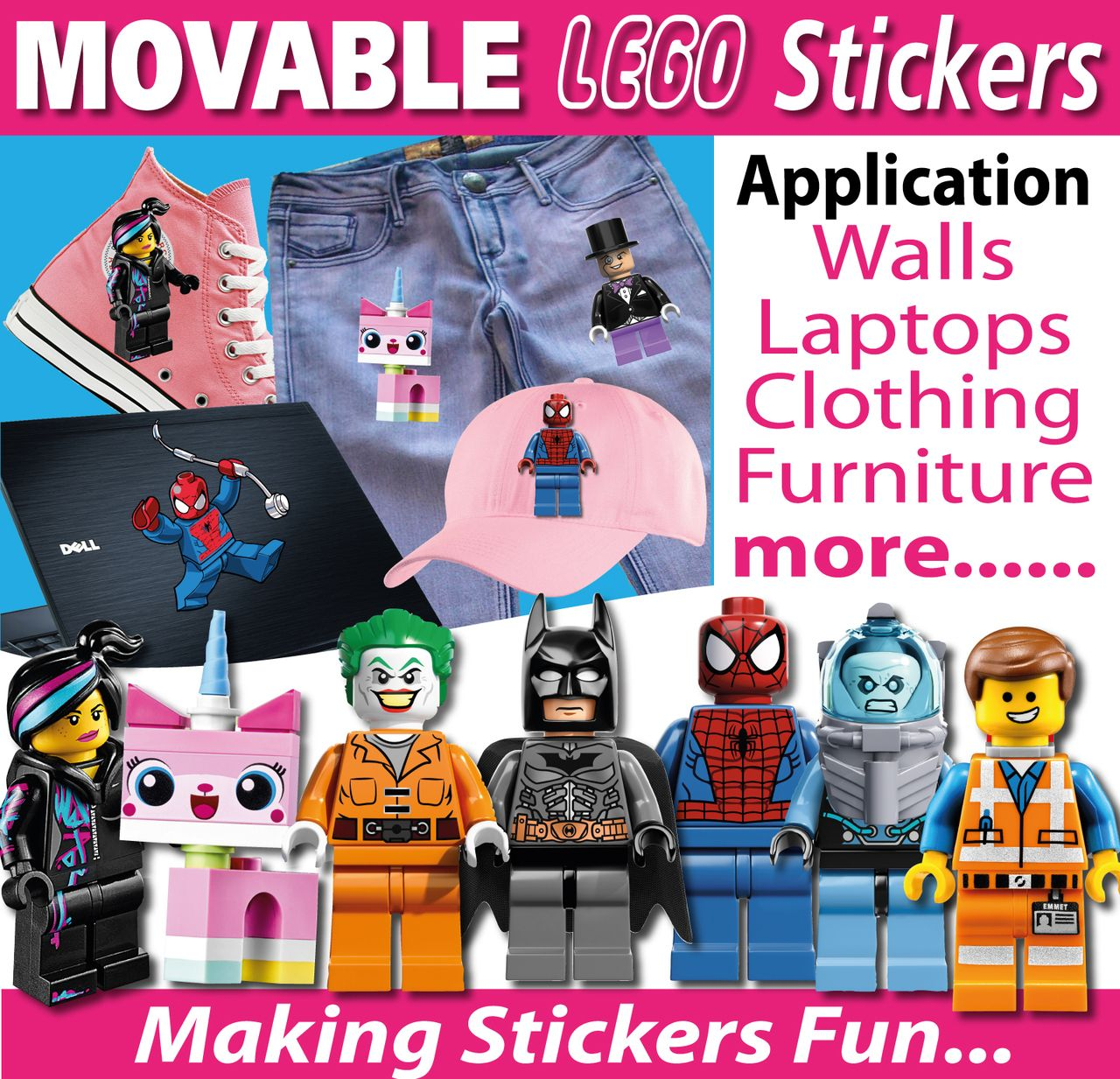 Lego Characters Wall Stickers Totally Movable And Reusable