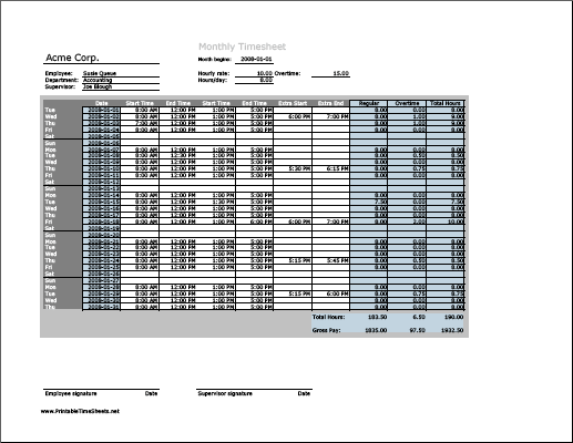 Monthly Timesheet With Overtime Calculation  Work Periods