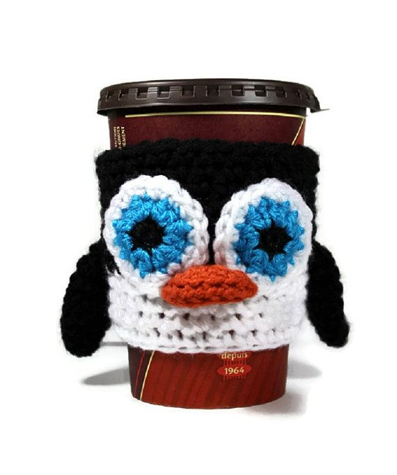 Penguin Cup Cozy Coffee Sleeve Ready To Ship By Blackcatstitches