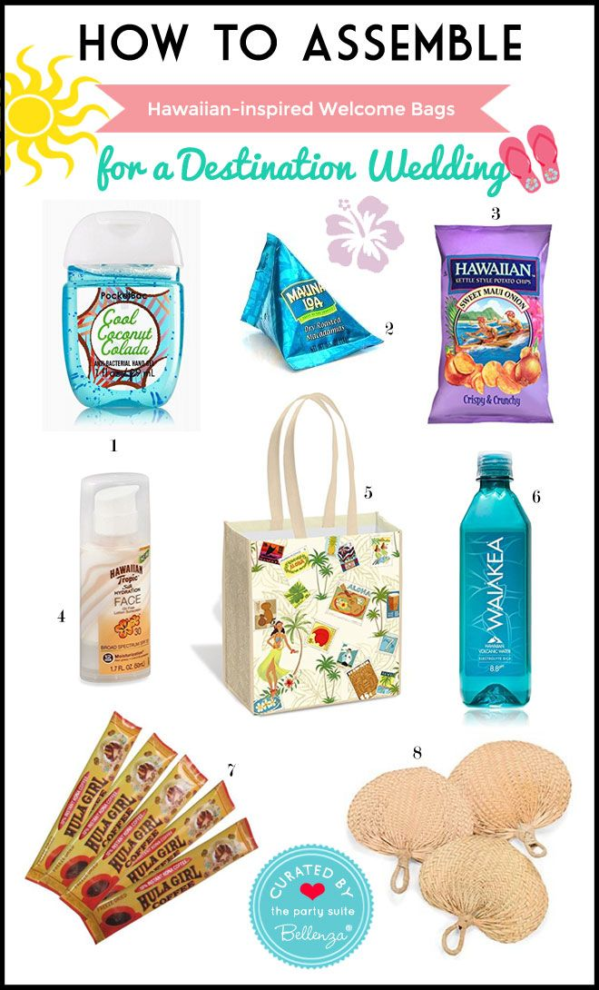 Hawaiian-themed Welcome Bag for a Destination Wedding. OOT bags to welcome guests.  sc 1 st  Pinterest & How-To: Assemble a Hawaiian-themed Welcome Bag for a Destination ...