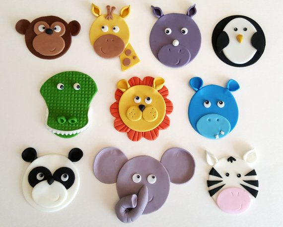 zoo circus safari jungle animal cupcake toppers fondant. Black Bedroom Furniture Sets. Home Design Ideas