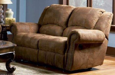 2pc Recliner Sofa Set Nail Head Trim Distressed Brown