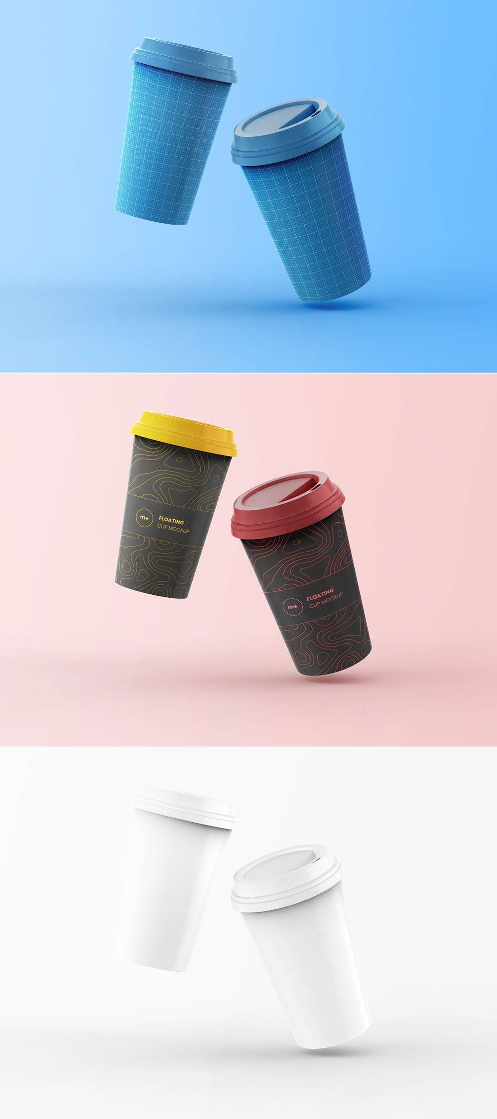 Free Floating Coffee Cup Mockup Coffee shop branding