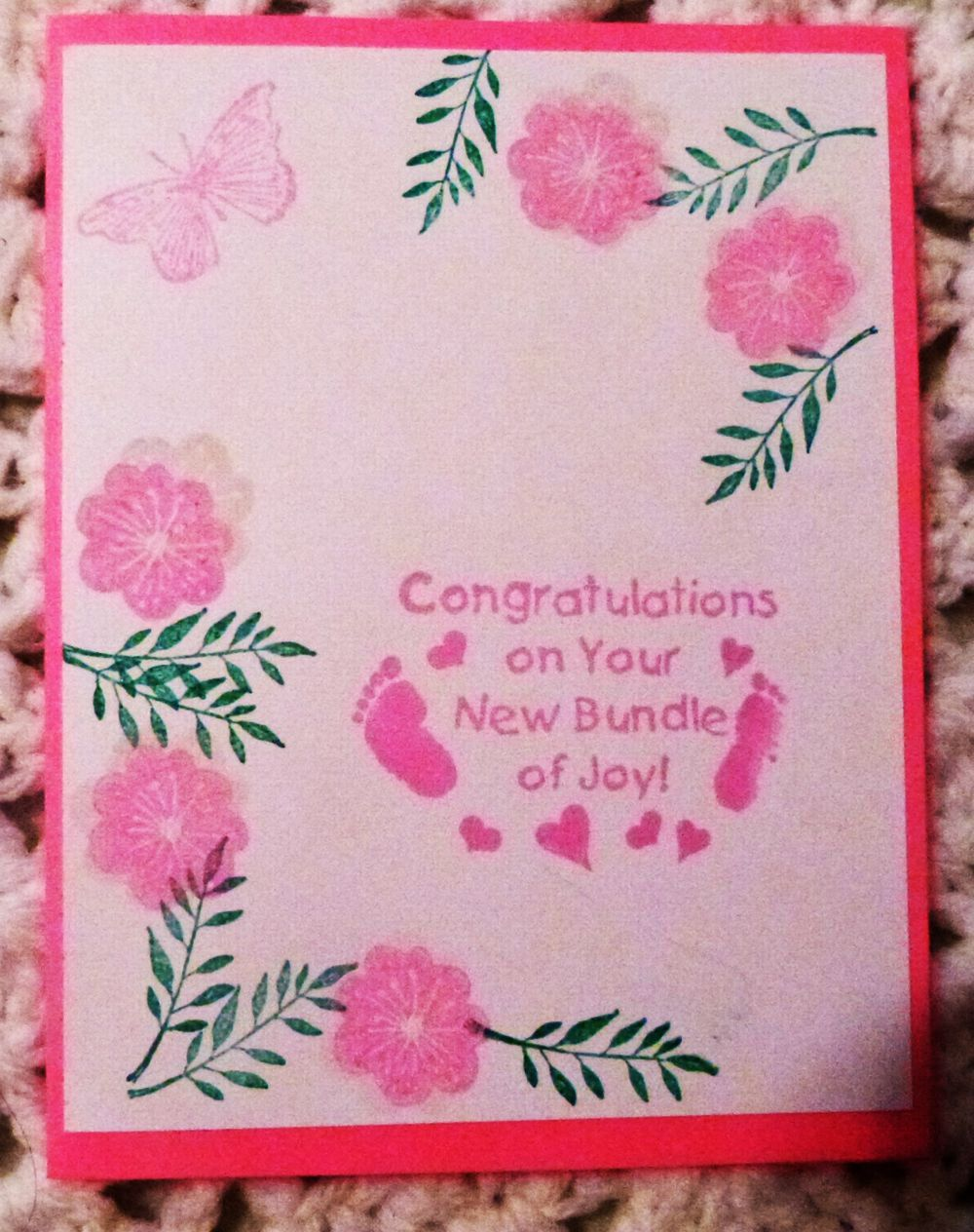 Baby Girl Pink Congratulations Handmade Greeting Card Hand Stamped