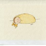 Baby in a blanket with yellow toy mouse-handmade from original watercolour-blank