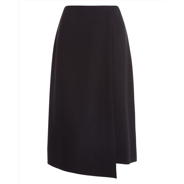 Jaeger Jaeger Wool Jet Detail Wrap Skirt (140 CAD) ❤ liked on Polyvore featuring skirts, wool wrap skirt, wool skirt, woolen skirt and wrap skirt