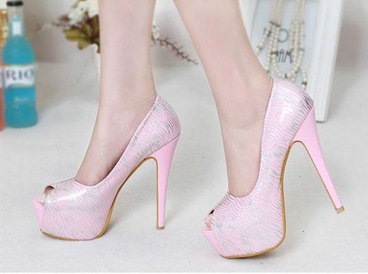 Latest Item Fashion Popular Zebras Color Block Peep-toe Platform Thin Heels