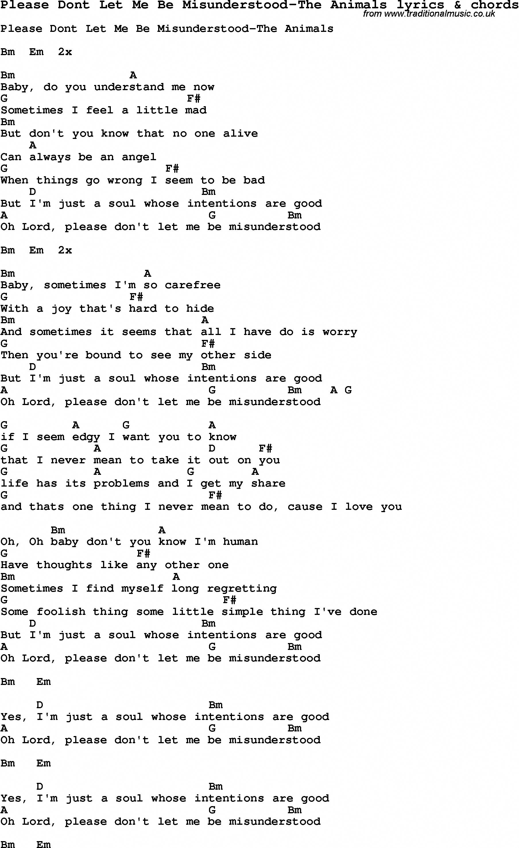 Love Song Lyrics forPlease Dont Let Me Be Misunderstood The ...
