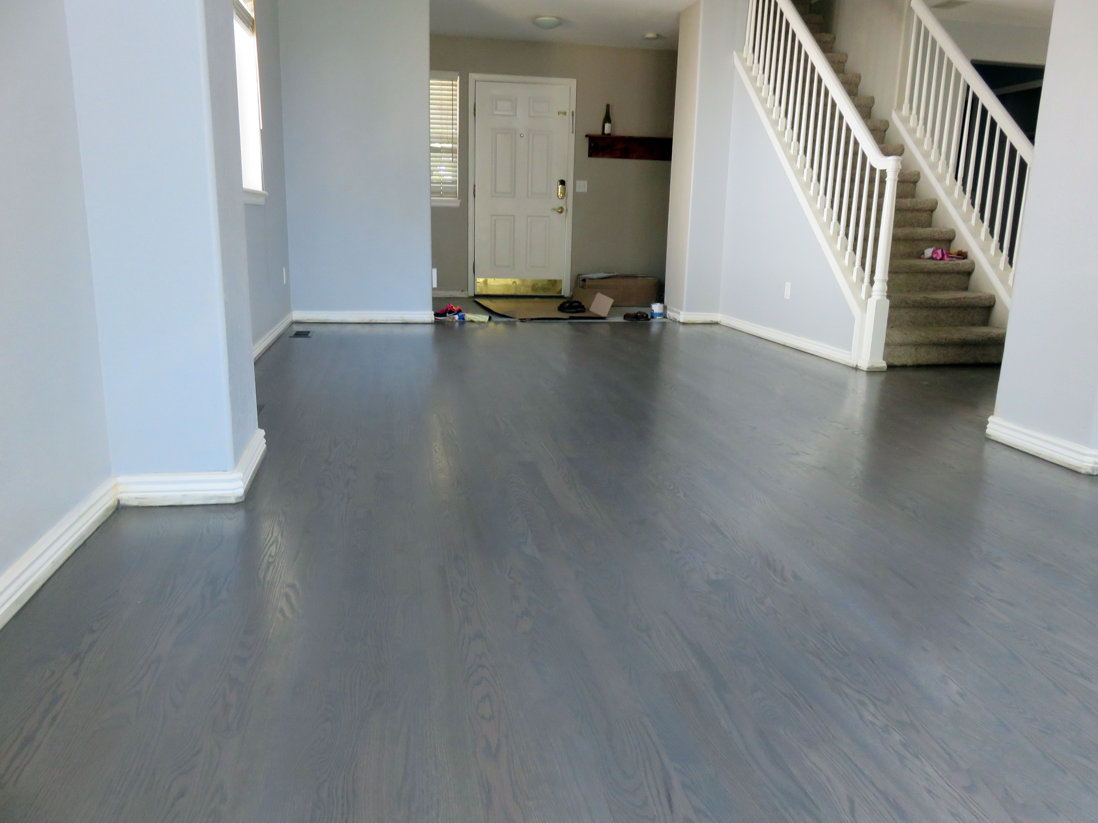Living Room Gray Stain Achieved By Custom Mix Of Ebony And White