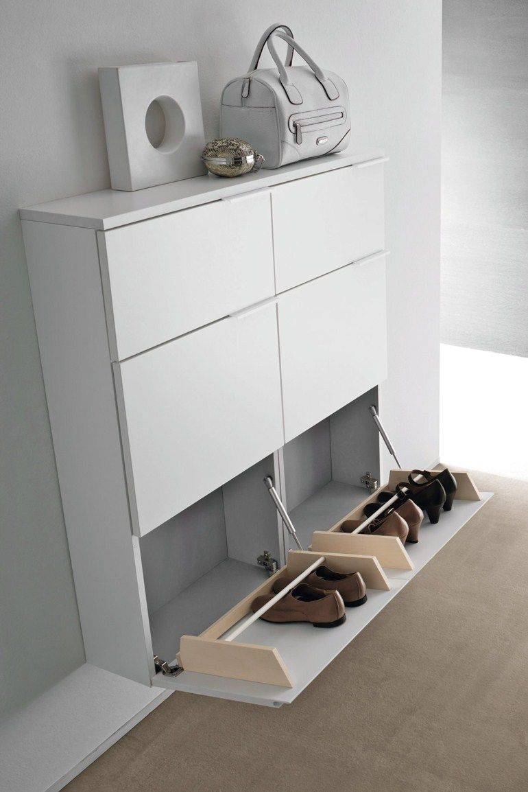 Lacquered wall mounted shoe cabinet logika wall mounted shoe