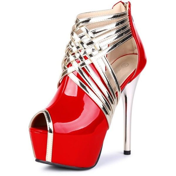 Image result for fereshte Womens Sexy Peep-Toe Ankle Strappy Platform Stiletto High Heels Sandals