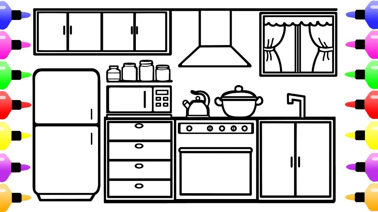 How To Draw Kitchen Room For Kids Coloring Book For Kids