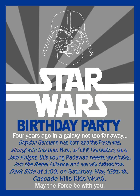 Star wars birthday invitation by grayciousdesigns on etsy allison star wars birthday invitation by grayciousdesigns on etsy stopboris Images