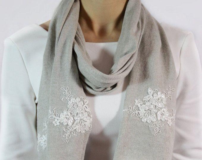 nuovo di zecca 69199 91bed Sciarpa gioiello, sciarpa grigia cotone, sciarpa grigia ...