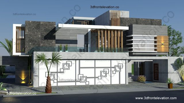 3d Front Elevation Of Houses In Dubai : Corner arabian contemporary villa house design plan