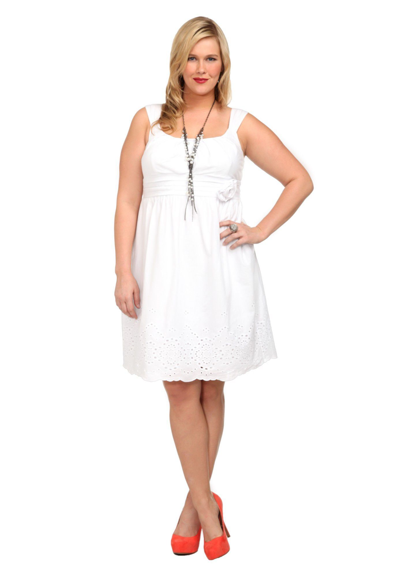 Plus size white voile embroidered hem dress image anniversary
