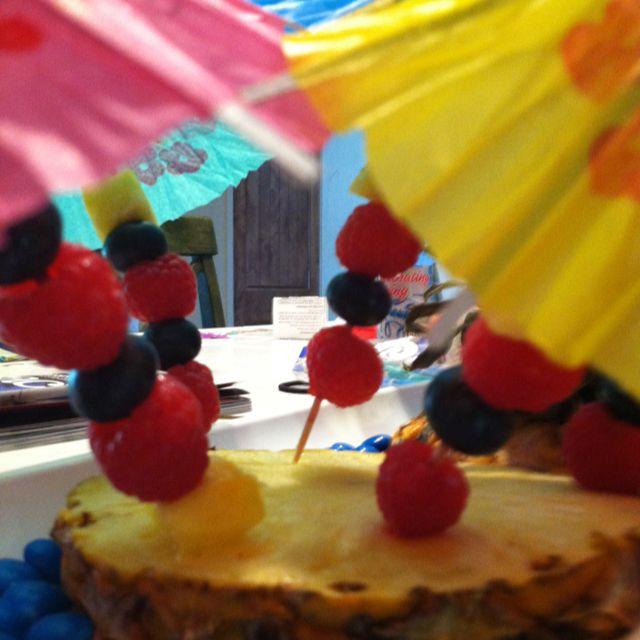 Beach Party Themed Fruit Kabobs!