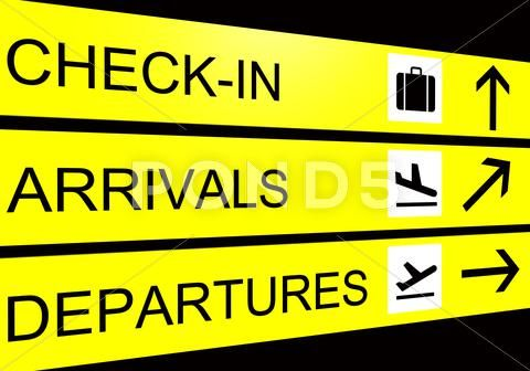 Airport sign, arrivals, departure, check in Royalty Free