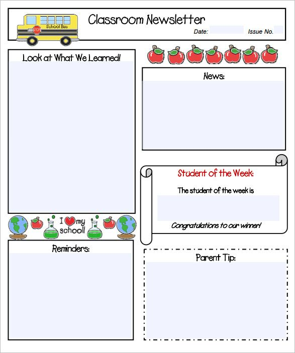 Pin by Stacie Schwark on Classroom Newsletters Pinterest - newspaper templates for kids