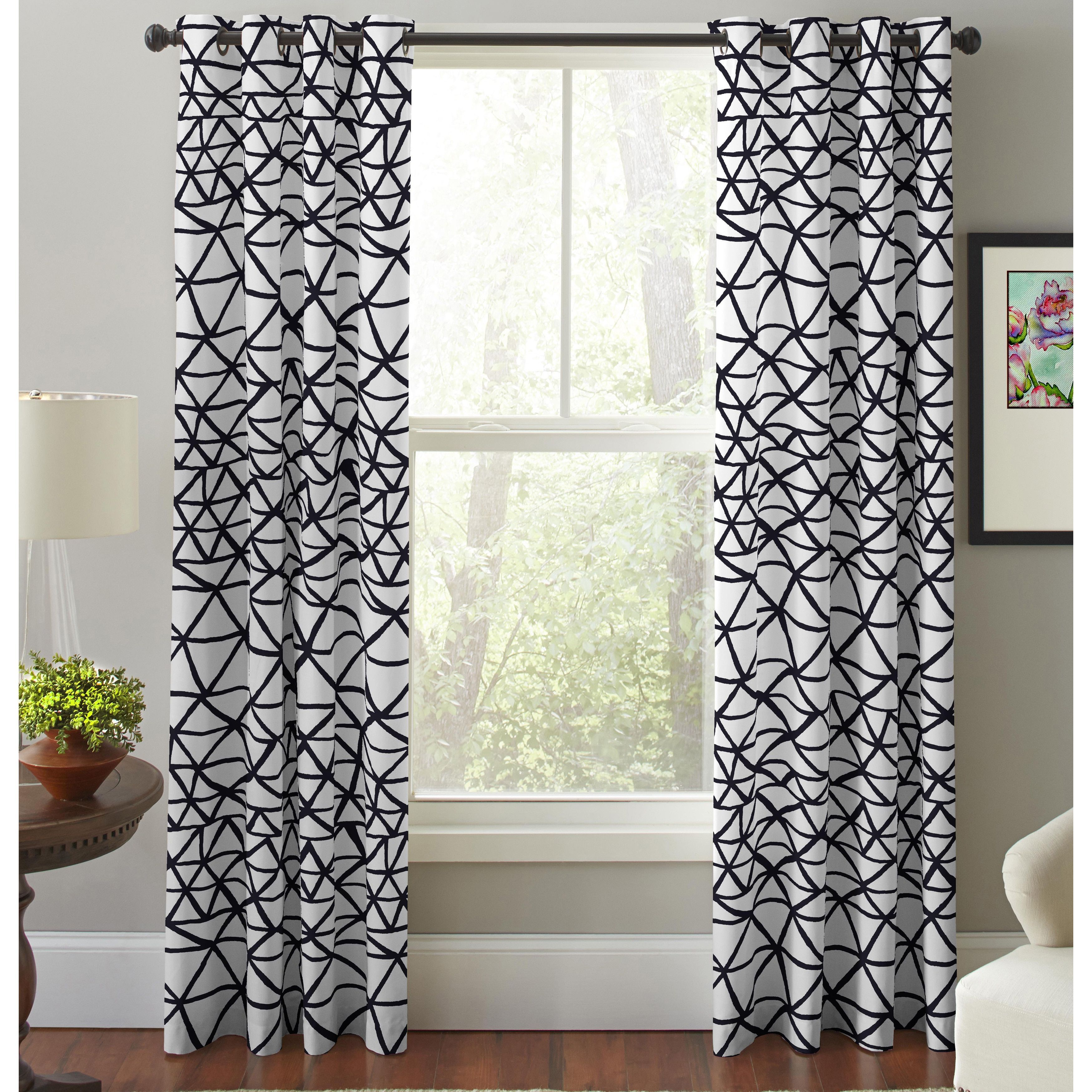 Pointehaven Bridge Black And White Printed Window Curtain Panel