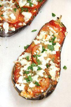 A healthy twist on eggplant parmesan with roasted eggplants and feta
