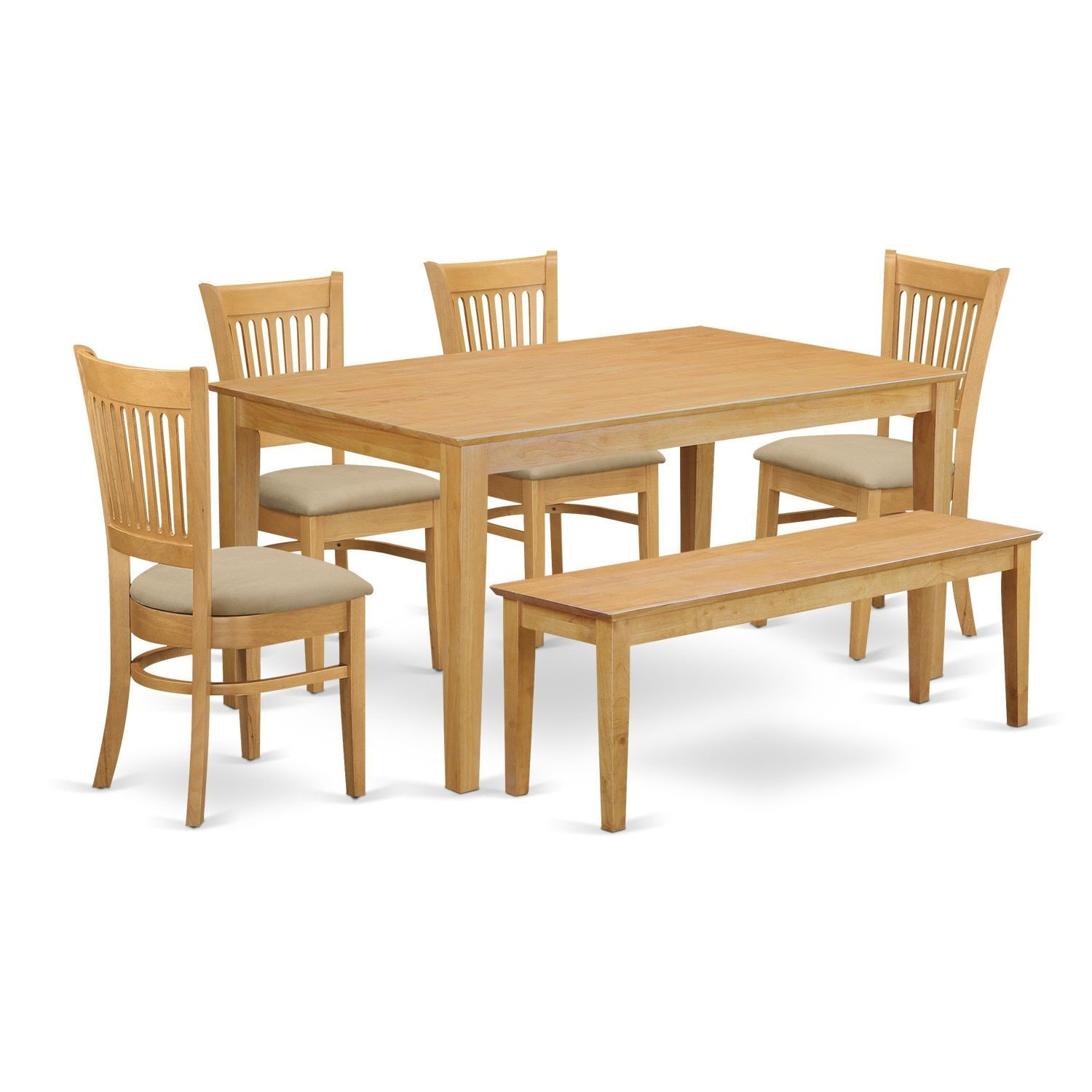 Cava6Oak 6 Piece Table Set  Kitchen Table And 4 Dining Room Captivating Wooden Bench For Dining Room Table Review