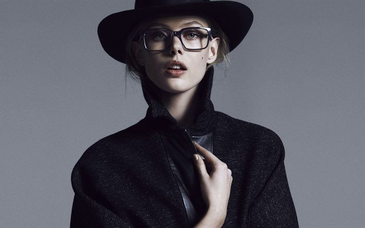 Frida Gustavsson, beautiful girl, Swedish model, girl in hat