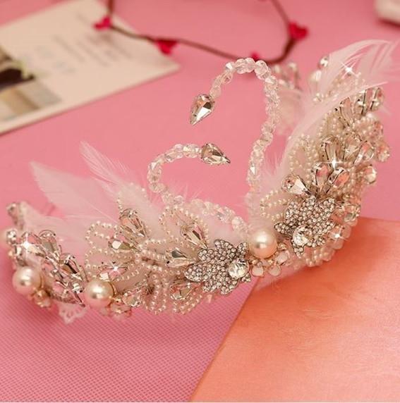 Dance Costume Accessory Wired Plastic Pearl Tiara Princess Fancy Dress