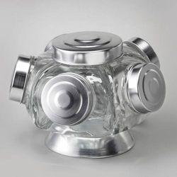 Porta Doce Baleiro Bomboniere Giratório Com 5 Potes De Vidro - 72427