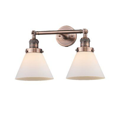 "Photo of Omorphita 2-Light Dimmable Armed Sconce Finish: Oil Rubbed Bronze, Shade Color: Matte White Cased, Size: 11 ""H x 18"" W"