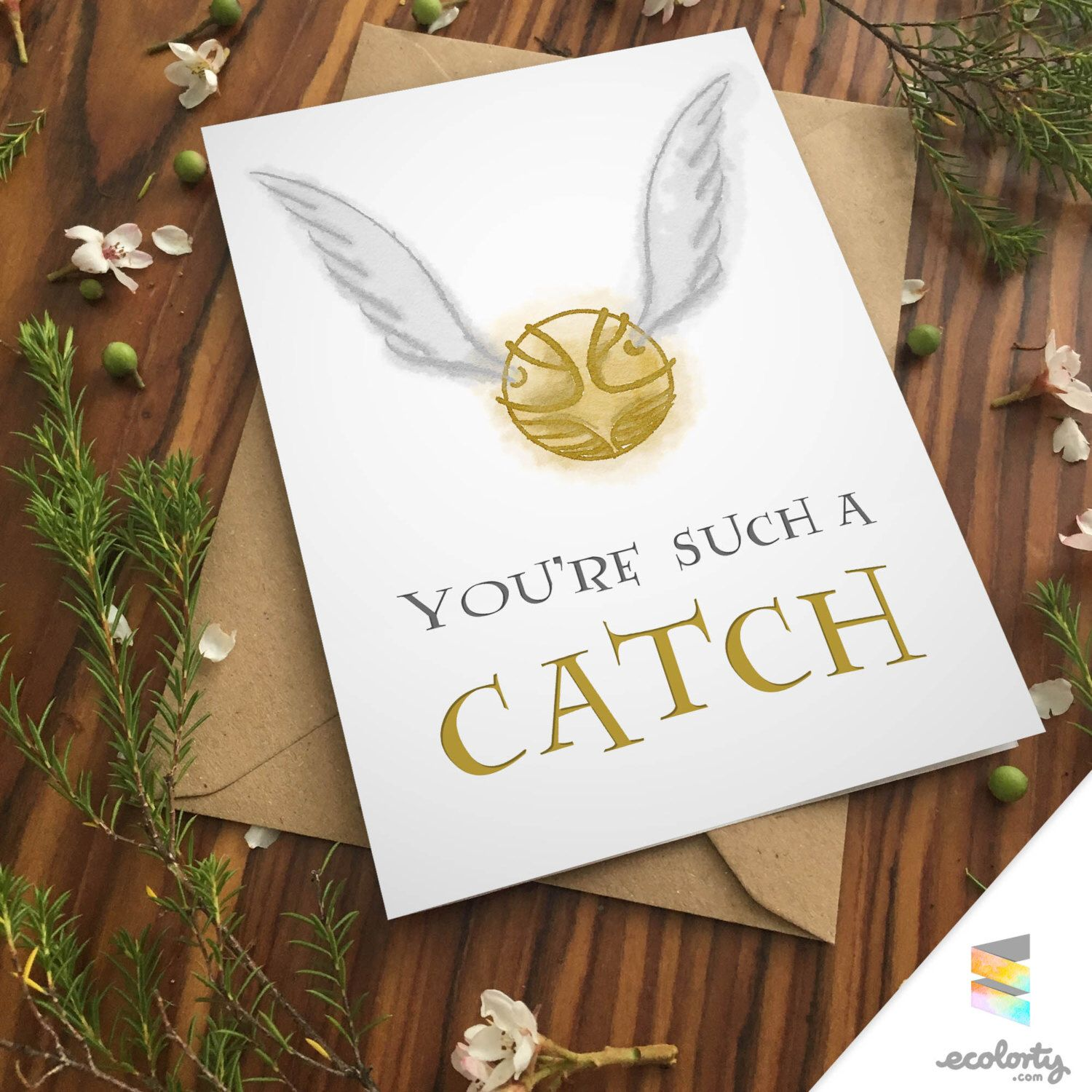 Golden snitch card harry potter greeting card albus dumbledore cute golden snitch card harry potter greeting card albus dumbledore cute anniversary art wizard quidditch pun magic kristyandbryce Images