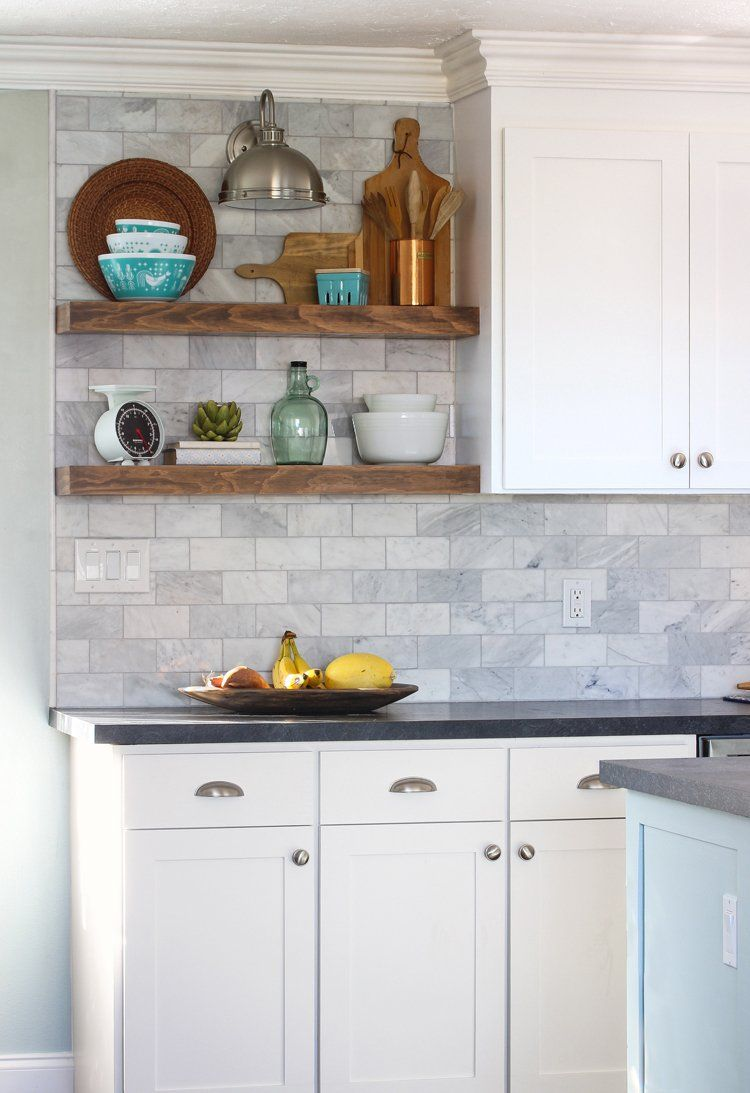 White Cabinets Beautiful Backsplash Open Shelving Yeah We Re Obsessed With This Kitchen Jennifer From Craftpatch Is The Owner Of Dreamy E