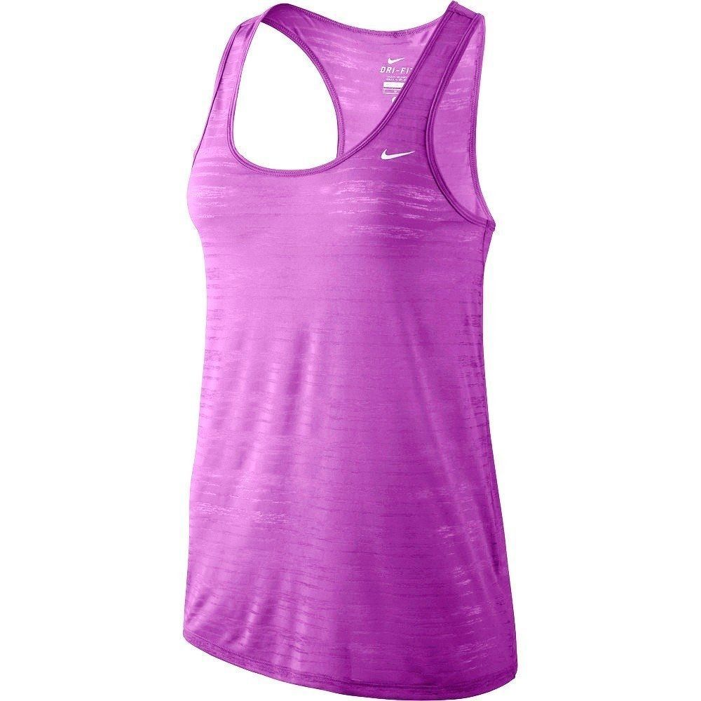 NEW NIKE WOMEN'S PURPLE DRI-FIT TOUCH BREEZE STRIPE TANK TOP RUNNING SIZE XL