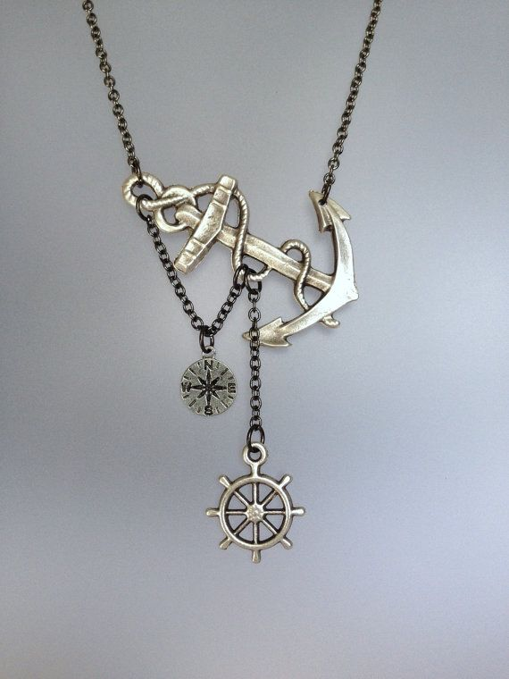 108c11bc3b7c Lost at Sea Necklace by SBC Antique Silver Anchor Compass Charm and Ship  Wheel Gunmetal Chain Made to Order