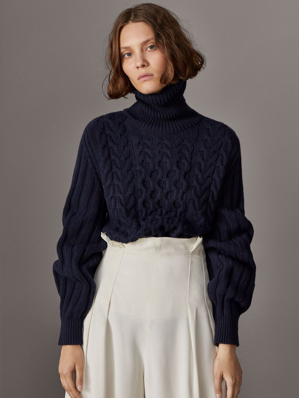 WOOLCASHMERE CABLE KNIT SWEATER WITH BALLOON SLEEVES