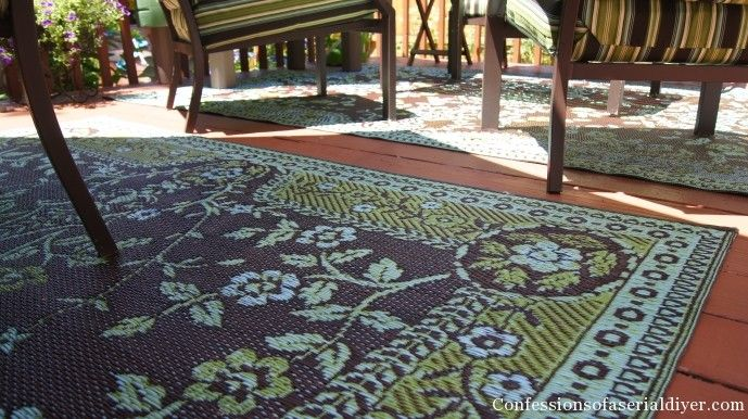 Mad Mats Like Oriental Floral In Light Umber Outdoor Plastic